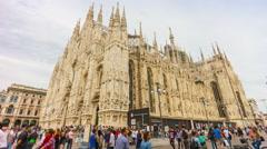 Day milan duomo cathedral square walking panorama 4k time lapse italy Stock Footage