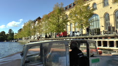 View of Canal Promenade Seen from a Tourist Boat in Copenhagen Stock Footage