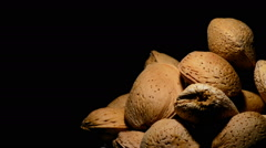 Bowl with almonds nuts in rotation Stock Footage