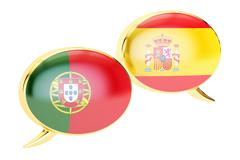Speech bubbles, Portuguese-Spanish conversation concept. 3D rendering Stock Illustration