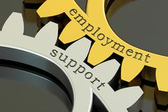 Employment support concept on the gearwheels, 3D rendering Stock Illustration