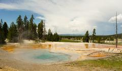 Hot Mineral Springs Bubble and Boil Yellowstone National Park Stock Photos