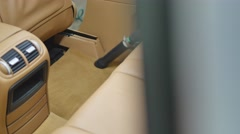 Car interior textile seats chemical cleaning with professionally extraction Stock Footage