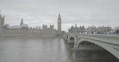Big Ben/Elizabeth Tower and Westminster Bridge - London, England - 4K Stock Footage