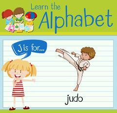 Flashcard letter J is for judo Stock Illustration