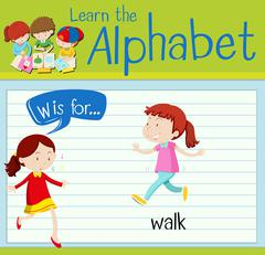 Flashcard letter W is for walk Stock Illustration