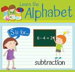 Flashcard letter S is for subtraction Stock Illustration