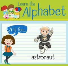 Flashcard letter A is for astronaut Stock Illustration