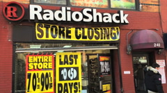 NEW YORK - MAY 2015 - A Radioshack store closes its door as the company filed Stock Footage