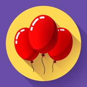 Festive multicolored air balloons icon holiday symbol, birthday party Piirros