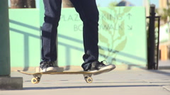A young man skateboarding, super slow motion. Stock Footage