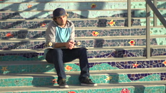 Portrait of a young man skateboarding, slow motion. Stock Footage