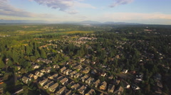 Aerial Flying Over Suburban Houses in Rural Forest Area Stock Footage