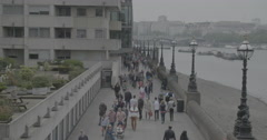 London Southbank (Near Blackfriars Bridge) - London, England - 4K Stock Footage