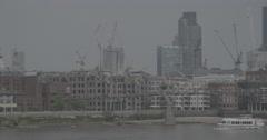 River Bus passes throug River Thames - London, England - 4K Stock Footage