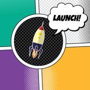 Rocket ship launch theme vector art illustration Piirros