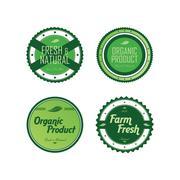 Fresh eco friendly green theme label set Stock Illustration