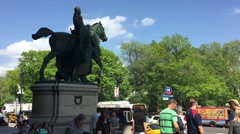NEW YORK CITY: Equestrian Statue Theodore Roosevelt by James Earle Stock Footage