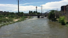 South Platte River is one of the two principal tributaries of Platte River and Stock Footage