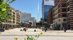 DENVER-The Denver Millennium Bridge is worlds first cable-stayed Stock Footage