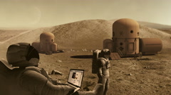 Astronauts living and working on mars, funny Stock Footage