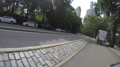 NEW YORK CITY, CENTRAL PARK - 4K DX POV GoPro Biking Driving Plate #3 Stock Footage