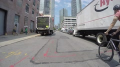 NEW YORK CITY, LONG ISLAND CITY- 4K DX POV GoPro Biking Driving Plate Stock Footage
