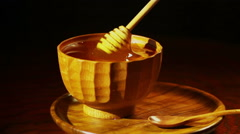 Honey In The Wooden Сup Stock Footage