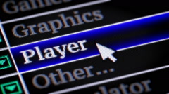 Player. My own design of program menu. Stock Footage