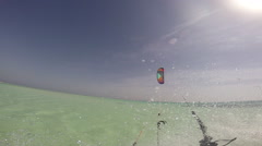 A man kite surfing on the Red Sea in Egypt. Stock Footage