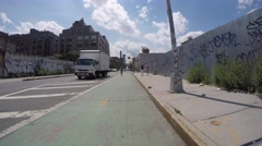 WILLIAMSBURG, BROOKLYN  - 4K DX POV GoPro Biking Driving Plate #26 - Stock Footage