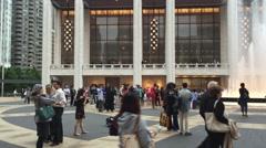 NEW YORK CITY - People walk near fountain near Josie Stock Footage