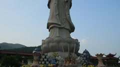 Guanyin statue on the mountain Stock Footage