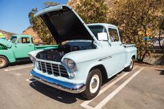 Light Blue 1955 Chevrolet 3100 Big Window Truck Stock Photos