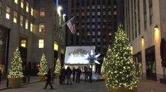 NEW YORK CITY: Tourists and pedestrians walk Swarovski Crystal Stock Footage