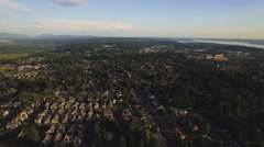 Helicopter View of Community in Seattle Washington Suburb Stock Footage