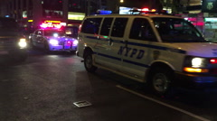 NYPD Car, A police car leads a motorcade through the heart of Manhattan Stock Footage