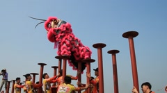 Lion dance in Asia Stock Footage