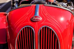 Red 1950 Ford Anglia Coupe Stock Photos