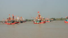 Boat on the river, Asia Stock Footage
