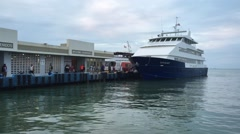 Puerto Rico: A ferry loads up passengers to take them to the island Stock Footage