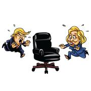 Donald Trump versus Hillary Clinton Running For Presidential Chair Stock Illustration