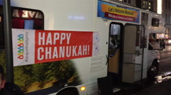NEW YORK CITY: A truck in Manhattan has a Happy Chanukah / Stock Footage