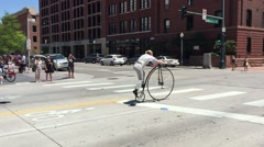 DENVER, COLORADO : A man waits at intersection on bike bicycle, Stock Footage
