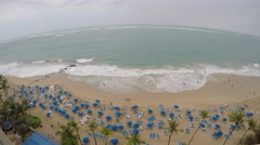 Overhead view of the beach in San Juan, Puerto Rico taken with GoPro camera.  Stock Footage