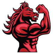 Red Horse Bodybuilder Posing His Muscular Body  Vector Mascot Stock Illustration