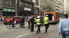 NEW YORK CITY: NYFD fire department and NYPD police in Manhattan Stock Footage