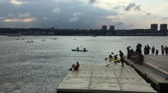 NEW YORK CITY: People kayak for free on the Hudson River in Stock Footage