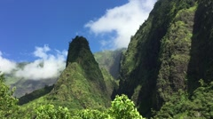 Maui - The Iao Needle is a famous landmark in Iao state park, a lava remnant Stock Footage