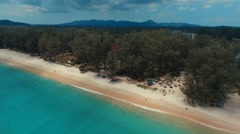 Panorama. Flying over Bang Tao beach. Phuket. Thailand. Aerial view. Stock Footage